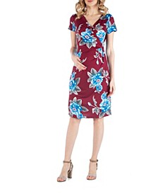 Floral Print Maternity Faux Wrapover Dress with Cap Sleeves