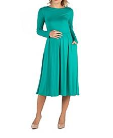 Midi Length Fit and Flare Pocket Maternity Dress