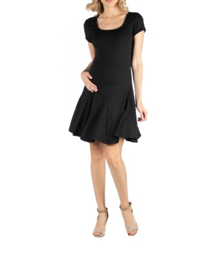 24seven Comfort Apparel Cap Sleeve Knee Length A Line Maternity Dress