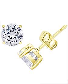 Cubic Zirconia Round Stud Earrings in Fine Silver Plate, 3 ct. t.w.