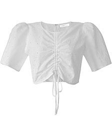 BCBGeneration Ruched Puff Sleeve Top