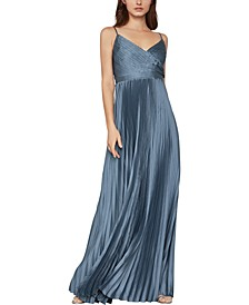 Pleated Satin Gown