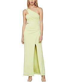 Asymmetrical-Neck Side-Cutout Dress