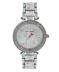 Women's Floral Dial Silver-Tone and Floral Printed Link Bracelet Watch 45mm