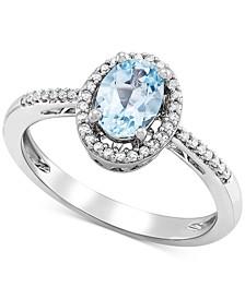 Aquamarine (5/8 ct. t.w.) & Diamond (1/8 ct. t.w.) Ring in Sterling Silver