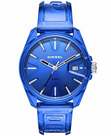 Unisex MS9 Blue Transparent Ployurethane Strap Watch 44mm