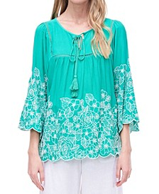 Tie Neck Boho Blouse with Embroidery and Faggoting