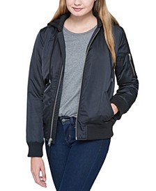 Classic Flight Satin Bomber Jacket with Jersey Hood