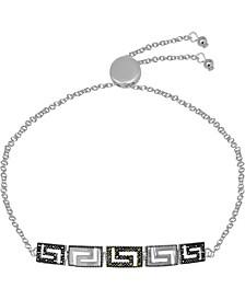 Swarovski Marcasite & Crystal Greek Key Bolo Bracelet in Fine Silver-Plate