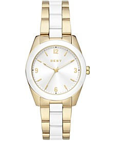 Women's Nolita Gold-Tone Stainless Steel & White Ceramic Bracelet Watch 34mm