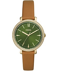 Women's Jacqueline Brown Leather Strap Watch 36mm
