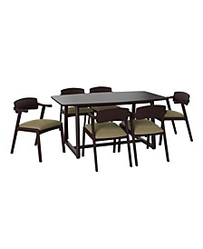 Millie 7 Piece Mid Century Modern Rectangular Espresso Wood Dining Table and Arm Chairs
