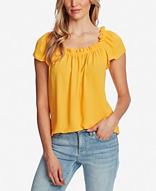 Ruffled Square-Neck Top