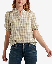 Plaid Cotton Popover Top
