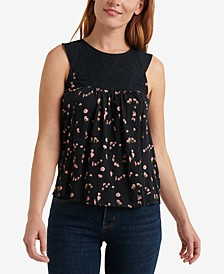Floral-Print Embroidered-Yoke Tank Top