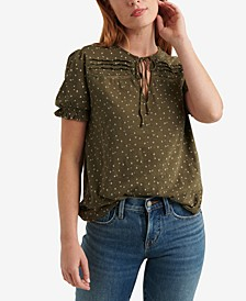 Printed Pintuck Henley Top
