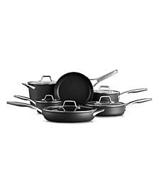 Premier Hard-Anodized Nonstick 11-Piece Cookware Set, Black