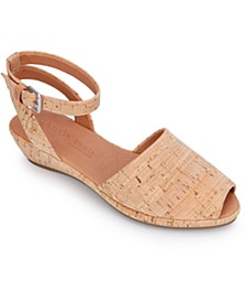 by Kenneth Cole Women's Lily Ankle-Wrap Wedge Sandals