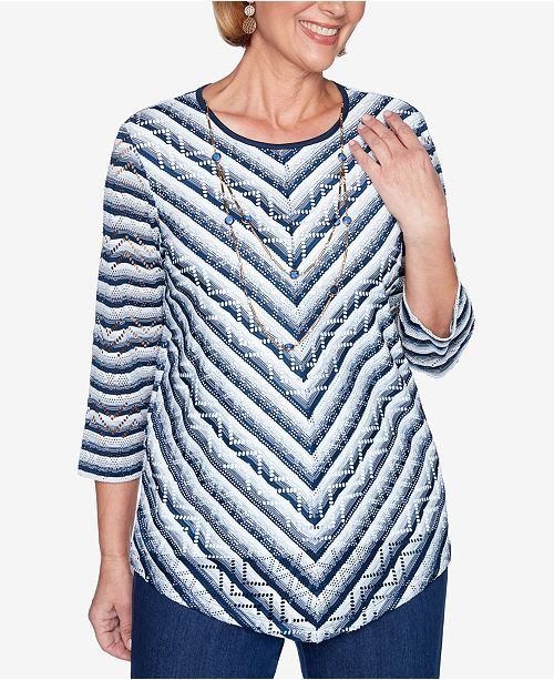 Alfred Dunner Petite Panama City Chevron Textured Stripe Knit Top