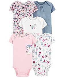 Baby Girls 5-Pack Flowers & Owls Printed Cotton Bodysuits