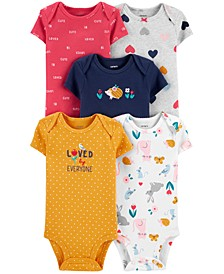 Baby Girls 5-Pk. Cotton Graphic Bodysuits