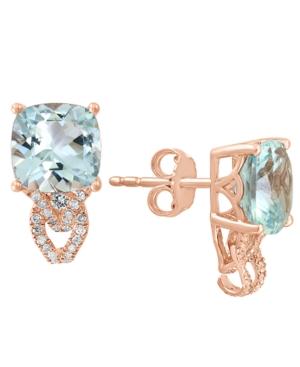 Aquamarine (3-3/4 ct. t.w.) & Diamond (1/4 ct. t.w.) Stud Earrings in 14k Rose Gold