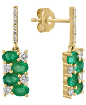 Emerald (1-5/8 ct. t.w.) & Diamond (3/8 ct. t.w.) Drop Earrings in 14k Gold