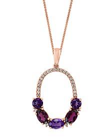 "LALI Jewels Multi-Gemstone (2-1/4 ct. t.w.) & Diamond (1/6 ct. t.w.) 18"" Pendant Necklace in 14k Rose Gold"