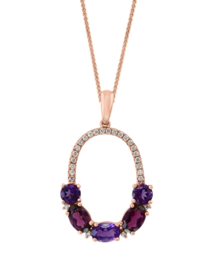 "Multi-Gemstone (2-1/4 ct. t.w.) & Diamond (1/6 ct. t.w.) 18"" Pendant Necklace in 14k Rose Gold"