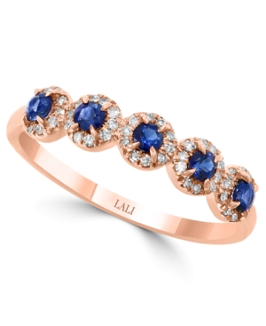 Sapphire (1/3 ct. t.w.) & Diamond (1/6 ct. t.w.) Cluster Band in 14k Rose Gold