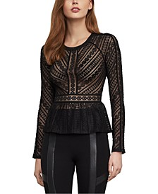 Stretch-Lace Peplum Top