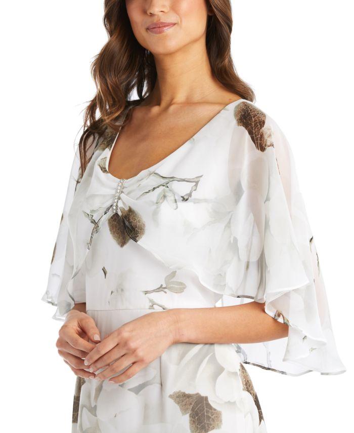 R & M Richards Petite Floral-Print Capelet Gown & Reviews - Dresses - Petites - Macy's