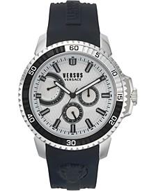 Men's Aberdeen Extension Black Silicone Strap Watch 45mm