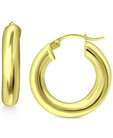 Small Polished Hoop Earrings in Sterling Silver or 18K Gold Plate Over Sterling Silver, 20mm, Created for Macy's