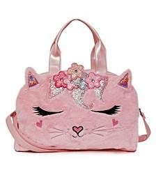 Big Girls Bella Kitty Flower Crown Plush Duffle Bag