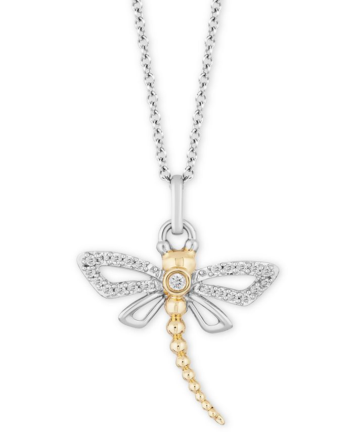 """Hallmark Diamonds - Diamond Dragonfly Pendant Necklace (1/6 ct. t.w.) in Sterling Silver & 14k Gold, 16"""" + 2"""" extender"""
