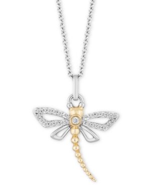 Dragonfly Joy Pendant (1/6 ct. t.w.) in Sterling Silver & 14k Gold
