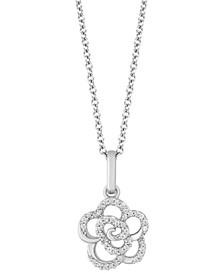 "Rose Joy pendant (1/10 ct. t.w.) in Sterling Silver, 16"" + 2"" extender"