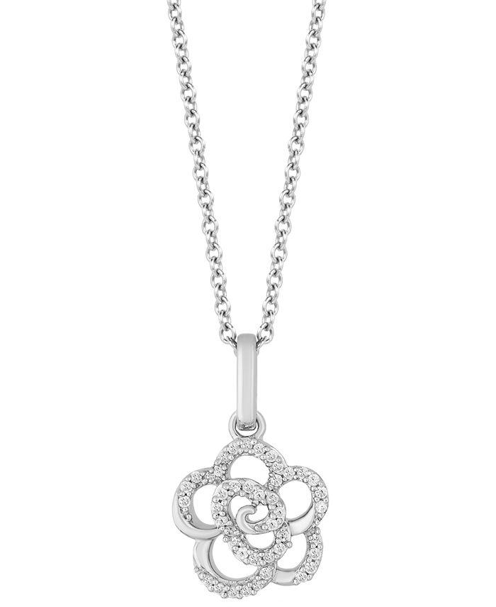 "Hallmark Diamonds - Diamond Rose Pendant Necklace (1/10 ct. t.w.) in Sterling Silver, 16"" + 2"" extender"