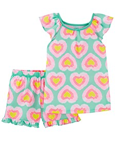 Little Girls 2-Pc. Tie-Dyed Hearts Pajama Set