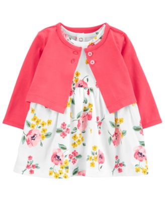 Baby Girls 2-Pc. Floral-Print Cotton Dress & Cardigan Sweater Set