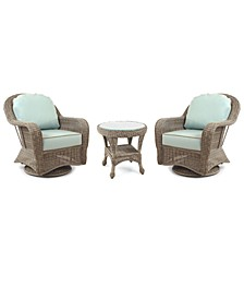 Sandy Cove Outdoor 3-Pc. Set (2 Swivel Chairs & 1 End Table), Created for Macy's