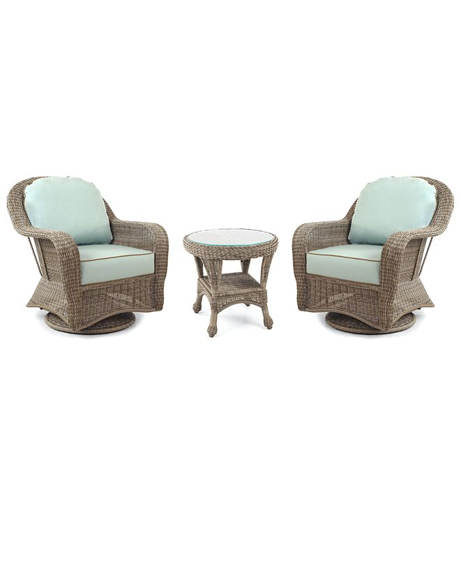 Furniture Sandy Cove Outdoor 3-Pc. Set (2 Swivel Chairs & 1 End Table), Created for Macy's