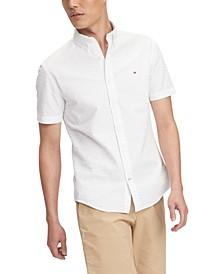Men's Zack Custom-Fit Solid Seersucker Shirt