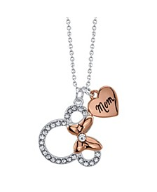 """Fine Silver Plated Clear Crystal Minnie Mouse """"Mom'"""" Necklace, 16""""+2"""" Extender"""
