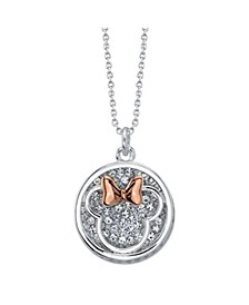 """Fine Silver Plated Minnie Mouse """"Mom You Are Fabowlous"""" Clear Crystal Disk Necklace, 16""""+2"""" Extender"""