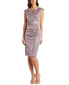 Embellished-Neck Metallic Sheath Dress