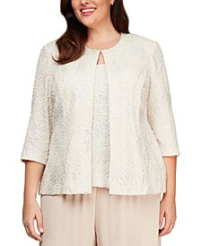 Plus Size Jacquard Knit Jacket & Top Set