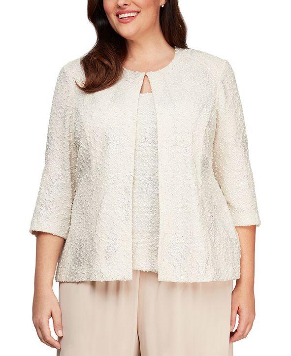 Alex Evenings Plus Size Jacquard Knit Jacket & Top Set