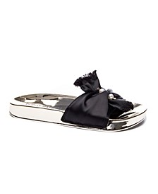 May Satin with Imitation Pearl Ornament Women's Poolslide Sandal